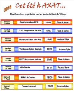 Programme 2018 des Amis du Haut du Village